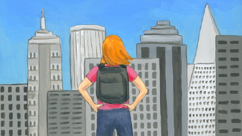 Redhead with backpack looking at San Francisco skyline