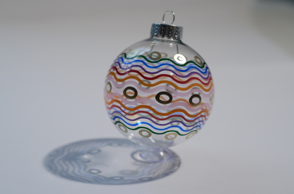 Multi-colored clear ornament