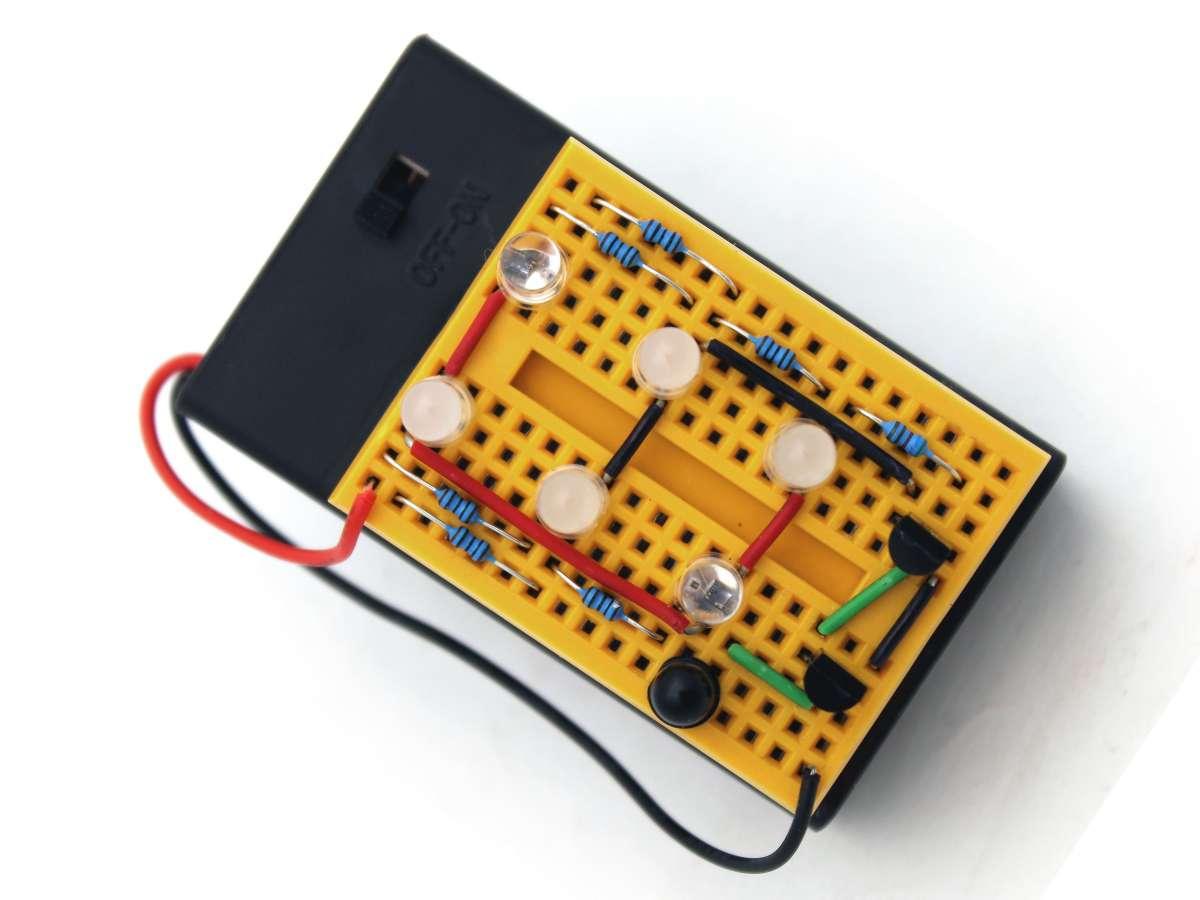 Breadboard with Hack-o-lantern circuit