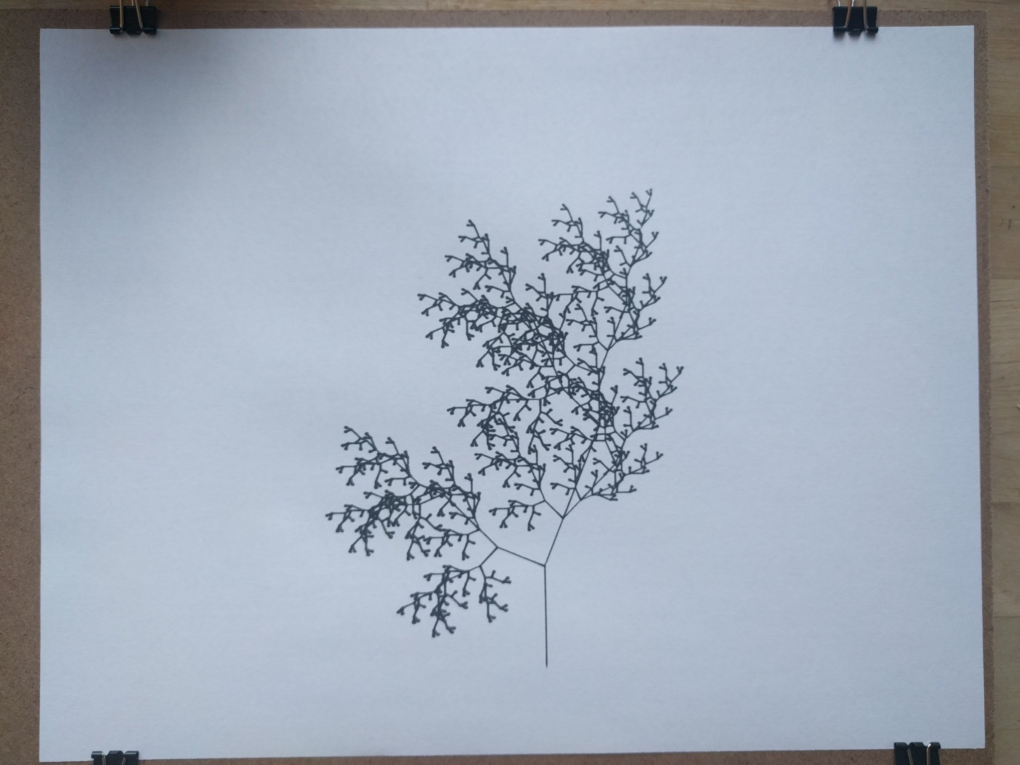 Fractal tree drawn by AxiDraw